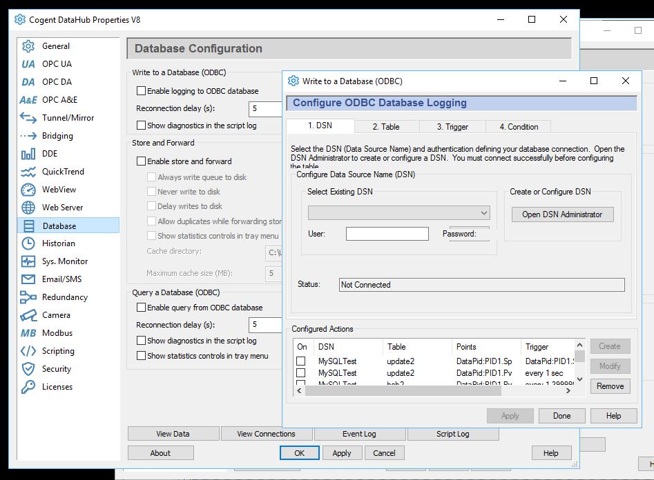 Database write screen capture